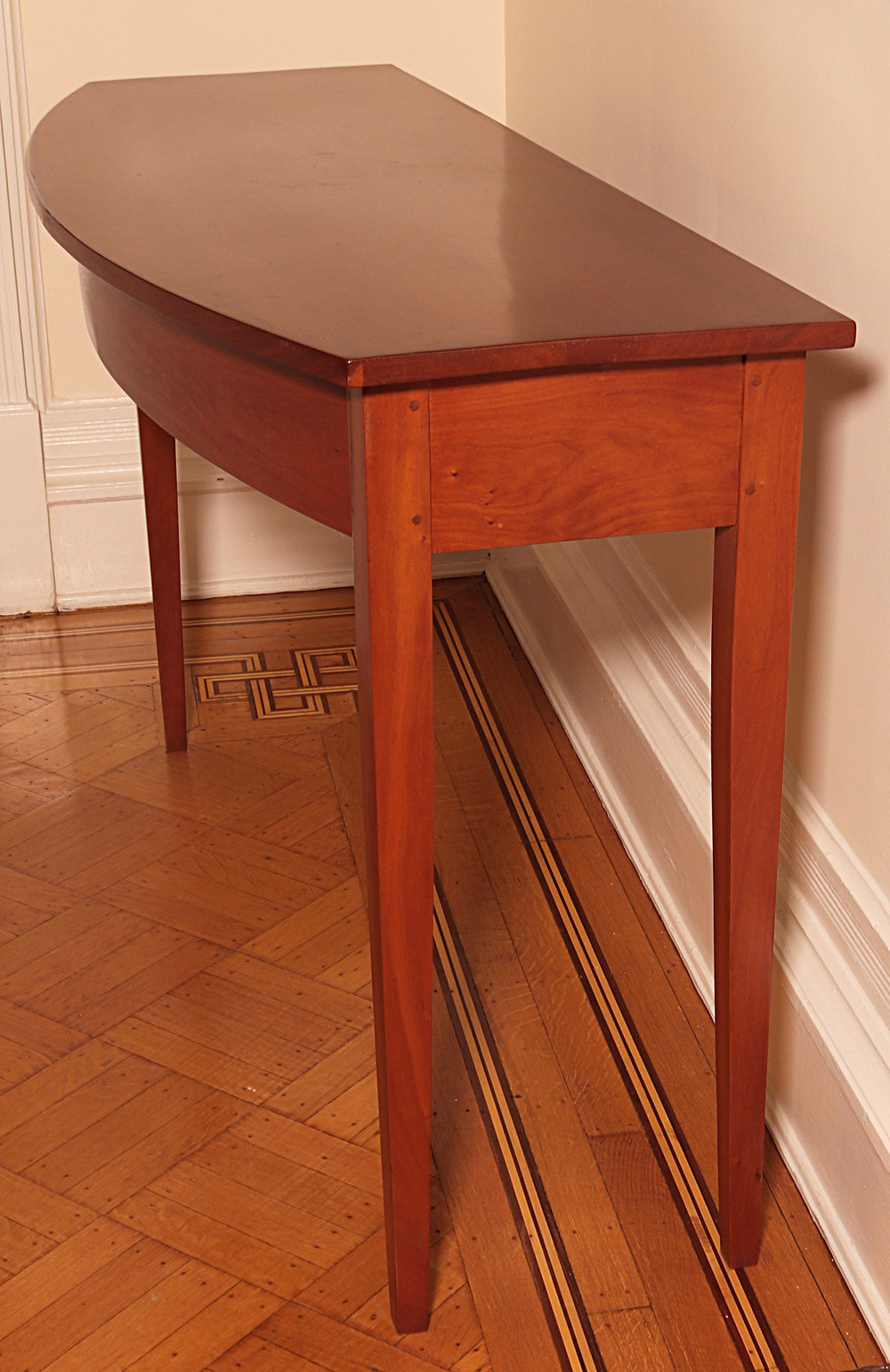 "Cherry Shaker Bowfront Table: 54"" long x 15"" wide x 30"" high"