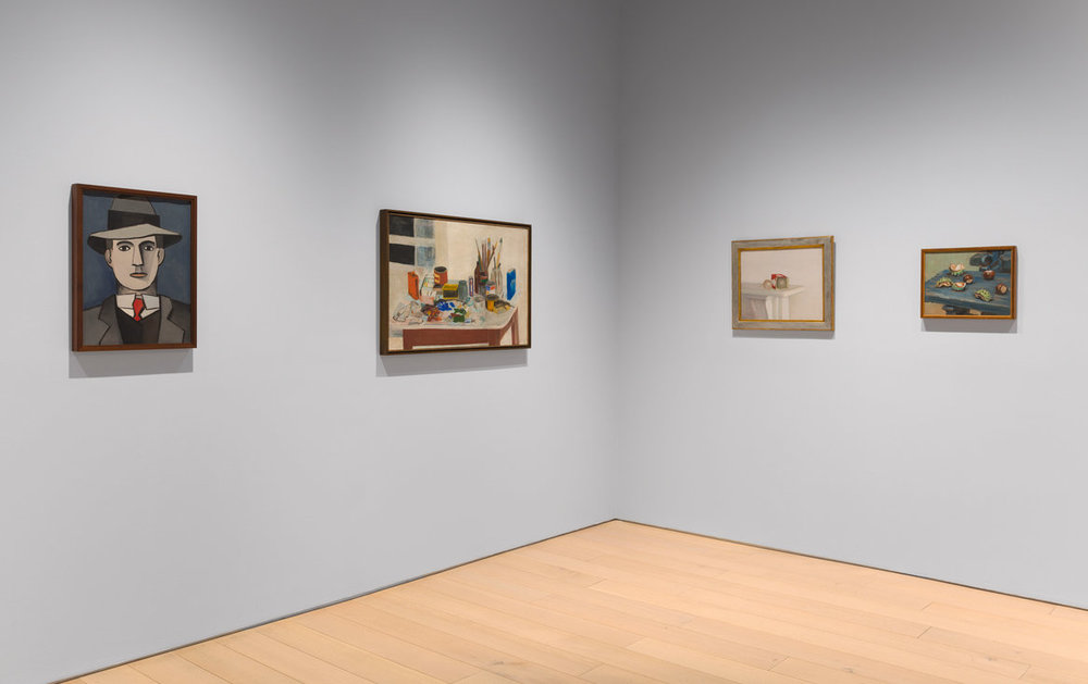 "FROM LEFT, JEAN HÉLION'S ""EDUARD,"" (1943); JANE FREILICHER'S ""THE PAINTING TABLE"" (1954); RODRIGO MOYNIHAN'S ""LIGHT BULBS"" (1982); AND HÉLION'S ""UNTITLED (CHESTNUTS),"" FROM 1955.  CREDITTHE ESTATE OF JOHN ASHBERY; DIEGO FLORES"