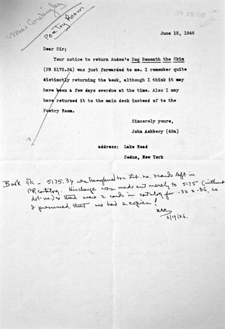 Letter in response to overdue notice to John Ashbery (1946). Courtesy of the Woodberry Poetry Room records.