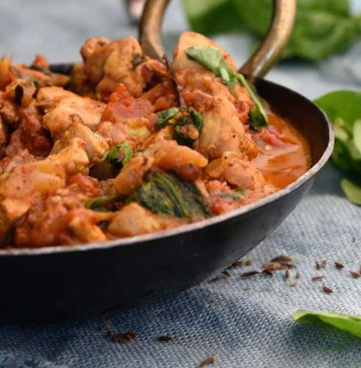 Chicken Vandail with Spinach