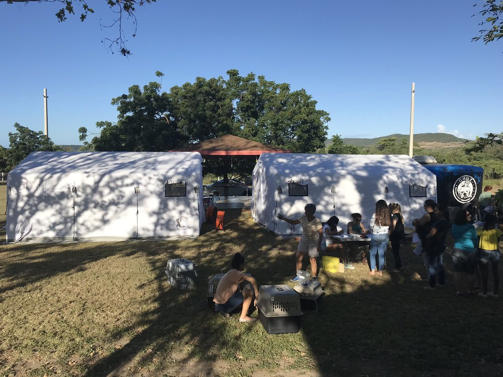 First Spay and Neuter effort setup trailer and tents .jpg