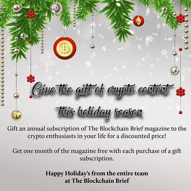 Give the gift of #crypto this holiday season! #TheBlockchainbrief is running. Promotional holiday sale- $55 for a yearly subscription. And, get a month free for yourself with every gift you buy for someone else! Happy holidays!——————————————————————————— #neo #btc #eth #ltc #xrp #bch #bitcoin #litecoin #ethereum #ripple #bitcoincash #cryptocurrencies #cryptocurrency #theblockchainbrief #cryptonews  #crypto #cryptocurrencynews #newsletter
