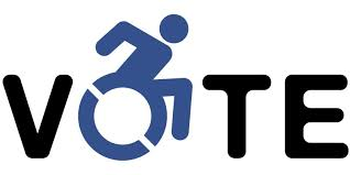 """Vote"" logo with wheelchair symbol"