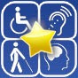 AbleRoad logo, four disability symbols on a blue square with a yellow star in the middle