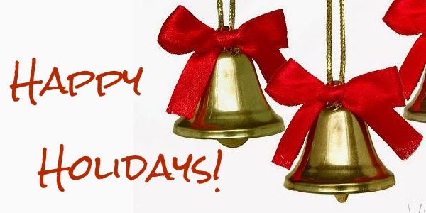 Happy Holidays! in festive red lettering, with gold colored bells decorated with red ribbons