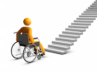 3 dimensional stick figure in a wheelchair at the bottom of a flight of stairs