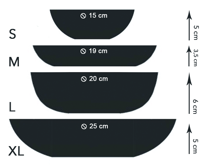 This image shows my most common bowl shapes and sizes: S, M, L and XL.  I also added the diameter of their opening and their height. Please allow +/- 1 cm difference due to their handmade nature.