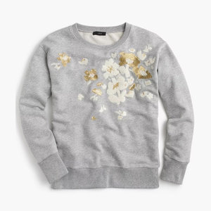 55c4e23d371 J Crew Embroidered Flower Sweatshirt - size Medium