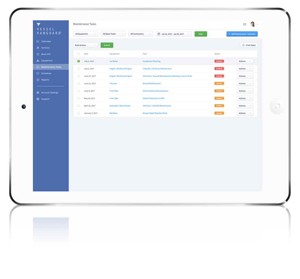Delegate with Control and Confidence. - Because service providers and auxiliary users are informed of task requirements in real-time VesselVanguard facilitates transparent accountability throughout the ecosystem of each boat and fleet.DEMO SINGLE BOAT PROFILEDEMO FLEET DASHBOARD