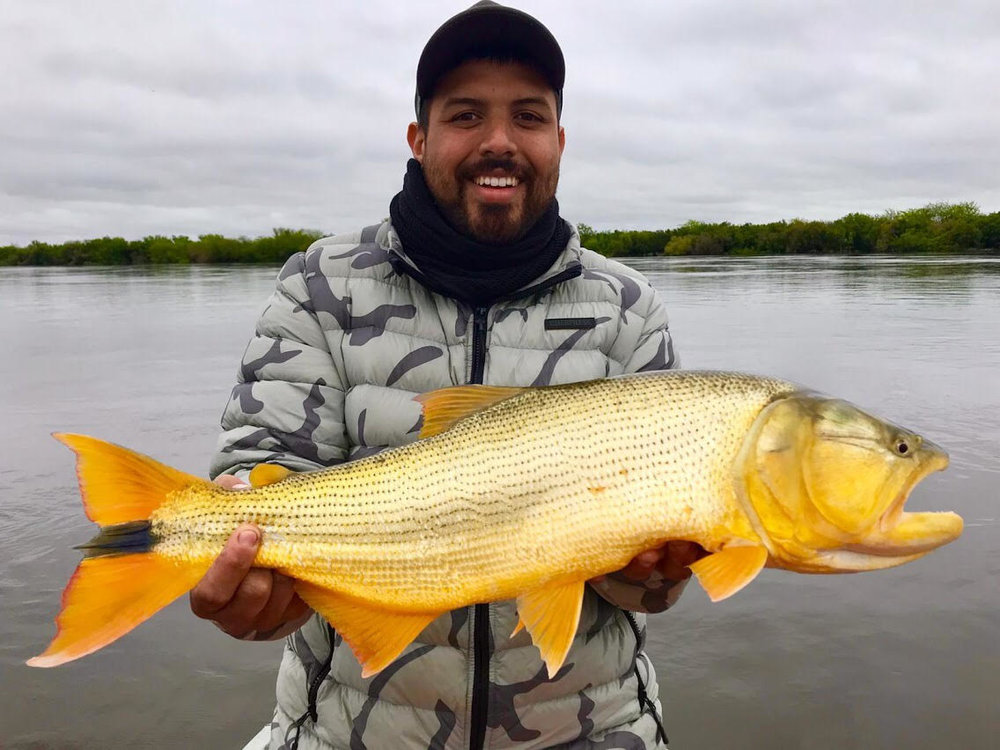 Man smiling and holding a large yellow fish