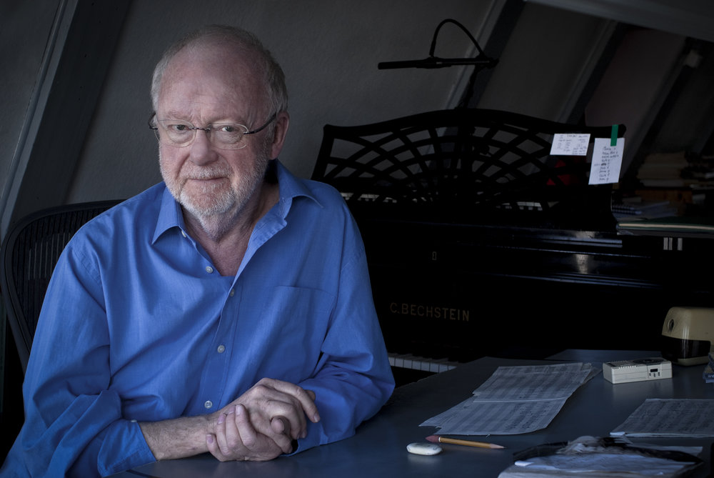 Louis Andriessen. Photo by Francesca Patella  (Top: Jaap van Zweden, conductor, and Leila Josefowicz, violin soloist. Photo by Chris Lee)