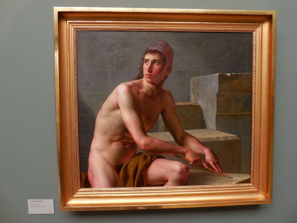 Eckersberg:A Young Man Sharpens His Arrow at Glyptotek