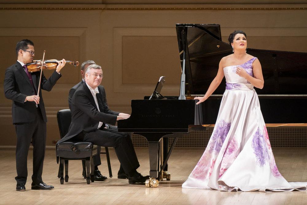 David Chan, Violin; Malcolm Martineau, Piano; Anna Netrebko. Photo Credit: Chris Lee