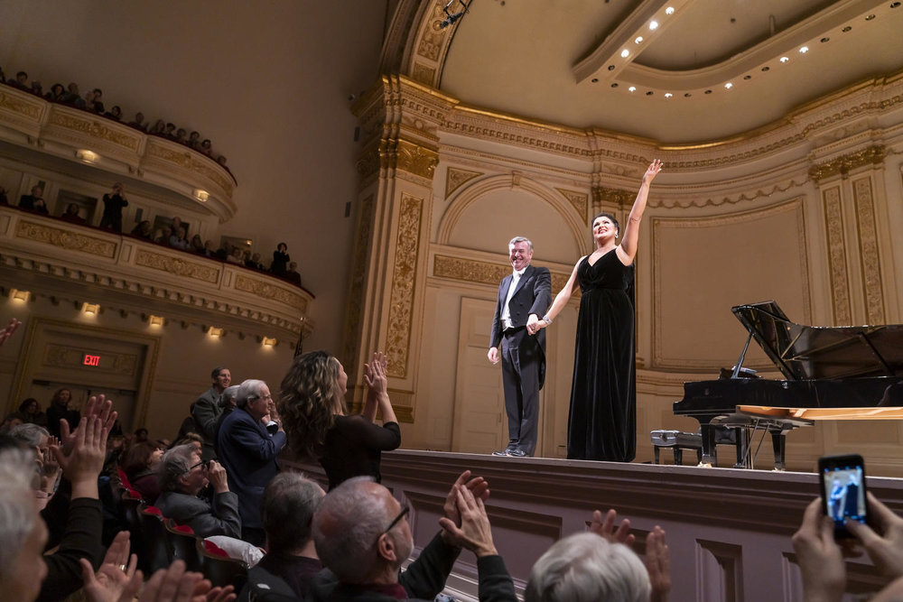 Malcolm Martineau and Anna Netrebko. Photo Credit: Chris Lee