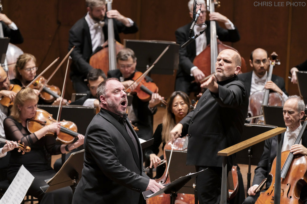 Matthias Goerne, baritone, Jaap van Zweden, conductor, and musicians of the New York Philharmonic. Photo (and top photo): Chris Lee