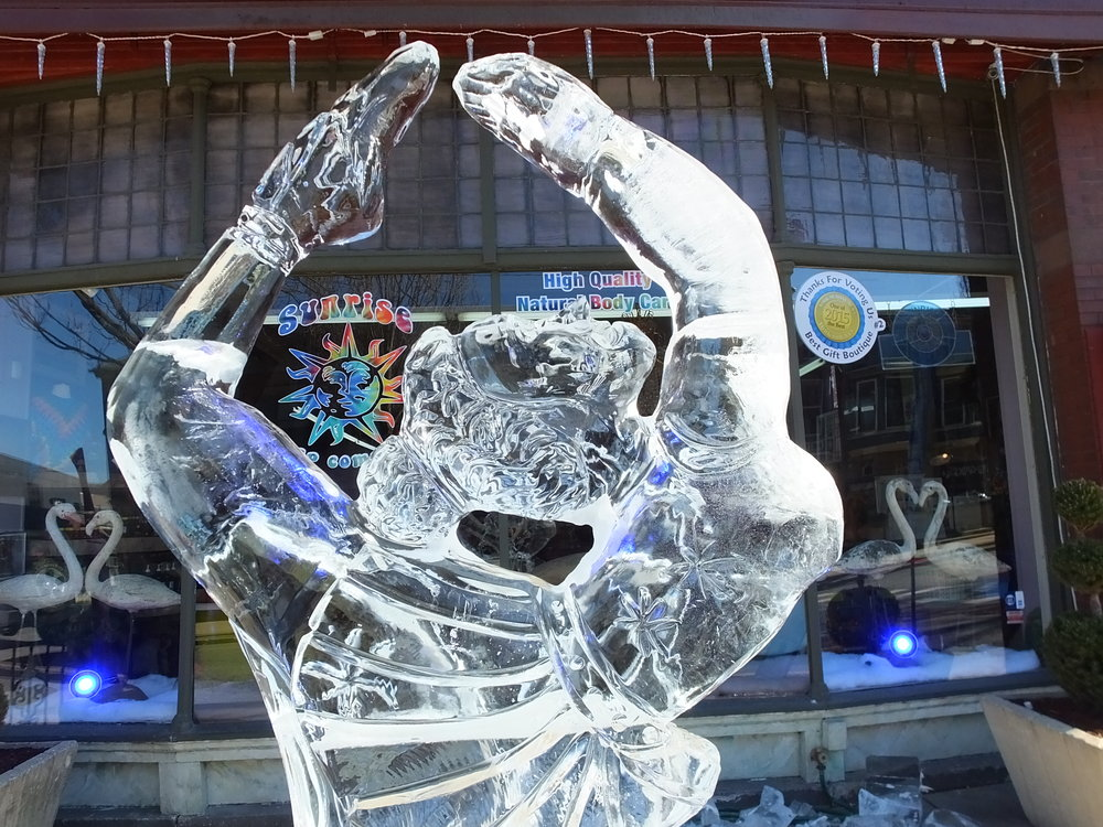 Ice Sculpting Schedule - WEDNESDAY11am-5pm - building of ice slide (Cherry Lane Ice Park)THURSDAY9am-3pm - building of ice walls & ice slide unveil3pm-4pm - place city block sculptures downtown5pm-8pm - sculpt Yeti Throne & first giant sculptures FRIDAY12pm-3pm - building of final ice walls (if necessary)5pm-8pm - carve final giant sculpturesSATURDAY12pm-5PM - view Cherry Lane Ice Park in its entirety