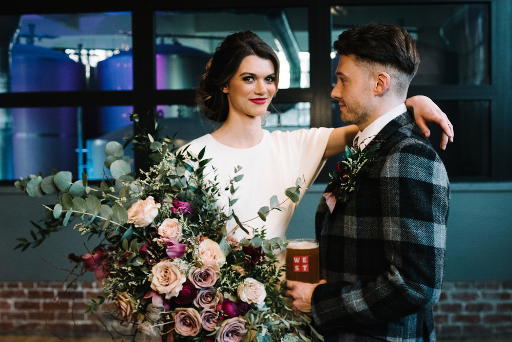 Modern Wedding Inspiration Shoot in Glasgow Brewery With a Frill Installation, Candy Floss and Neon 00227.jpg