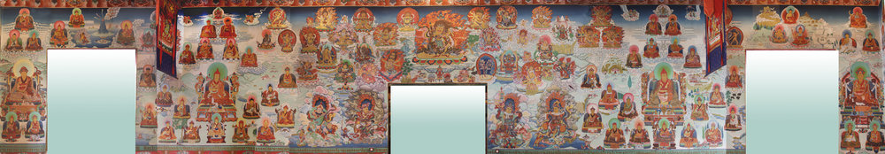 This wall has the most figures. Central figures include Shechen Gyaltsab Gyurme Namgyal (the teacher of Dilgo Khyentse Rinpoche), Jamgon Kongtrul Lodro Thaye, Jamyang Khyentse Wangpo, Gonpo Lhekden, and 2nd Rabjam Gyurme Kunzang Namgyal. Smaller figures include the 10th Trungpa Rinpoche, the 3rd Dodrup Chen Jigme Tenpei Nyima, Mipham, and Togden Shakya Shri.