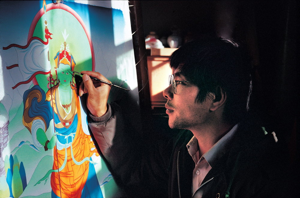 Young Konchog Lhadrepa-thangka painter.JPG