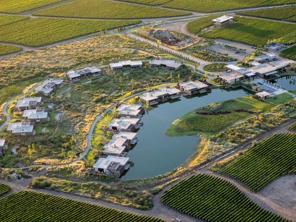 An aerial view of our vineyard + villa in Mendoza, Argentina.