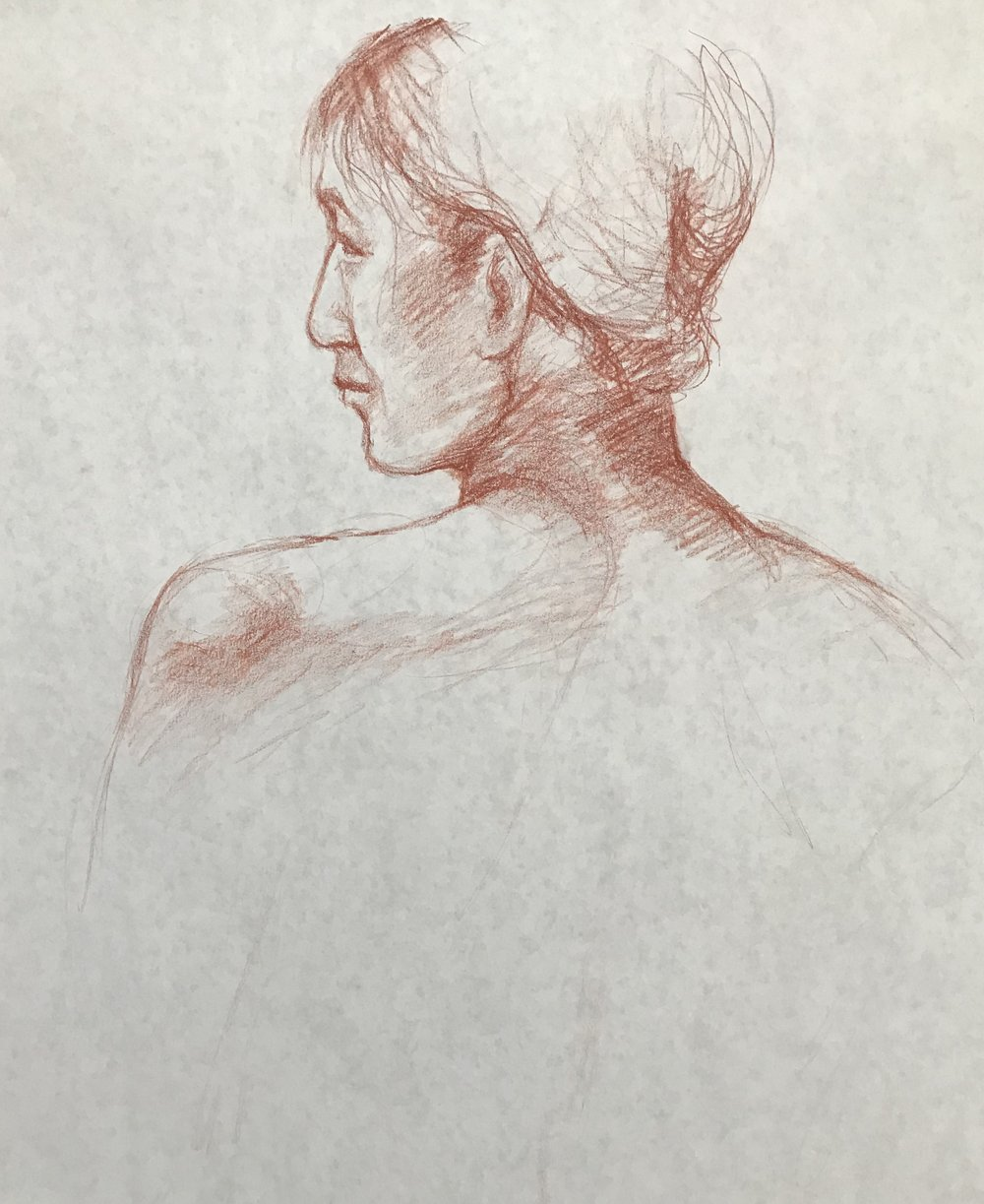 "Life Drawing Study, 24 x 36"", Conté on Paper"