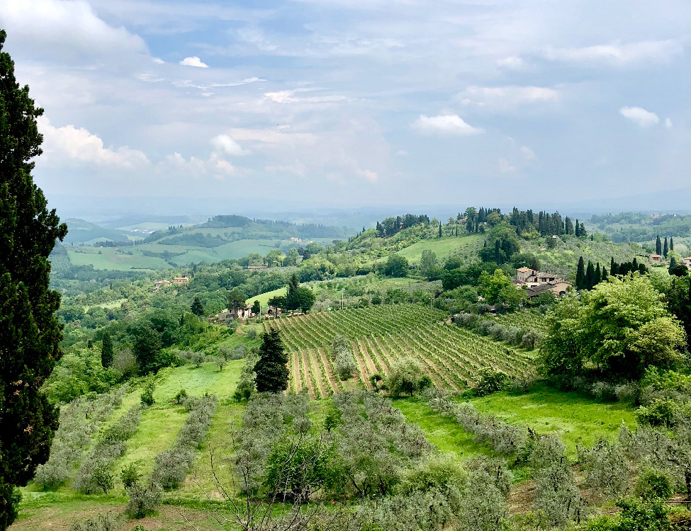 View of Tuscan hills, San Gimignano, Italy