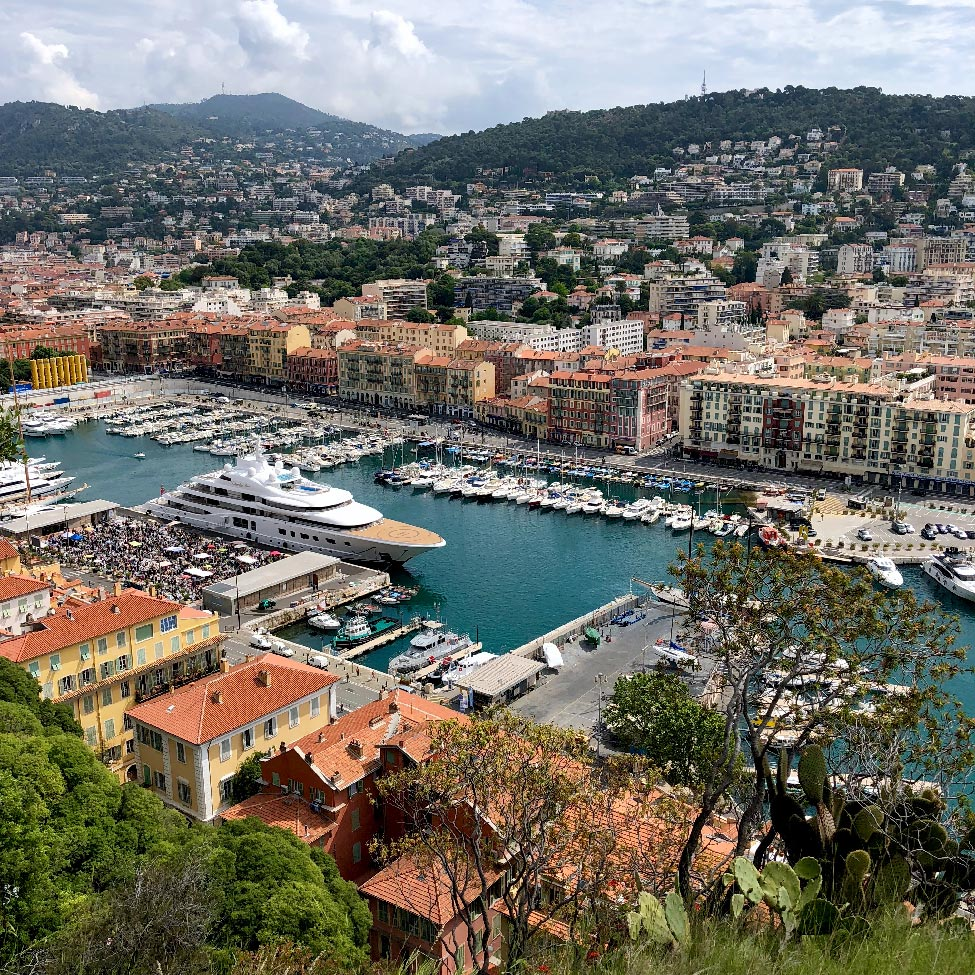 View of Port Lympia from Castle Hill, Nice, France
