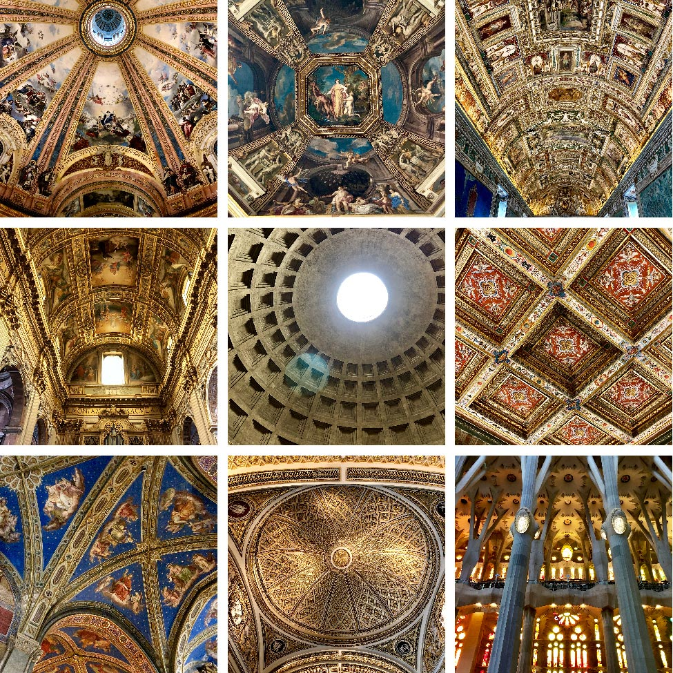 Selection of ceilings seen throughout the trip