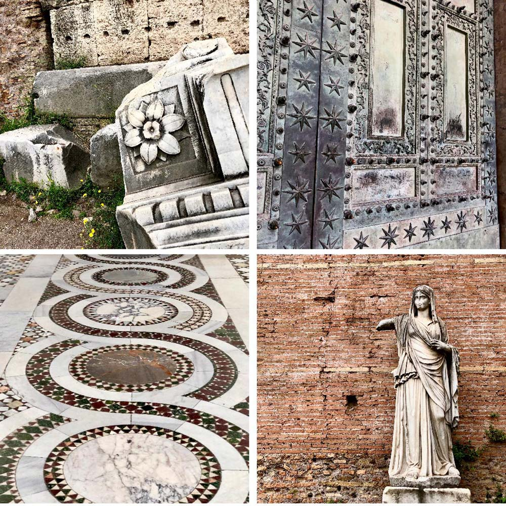 Details from the Roman Forum on Palatine Hill and Archbasilica of St. John Lateran, Rome, Italy and Vatican City