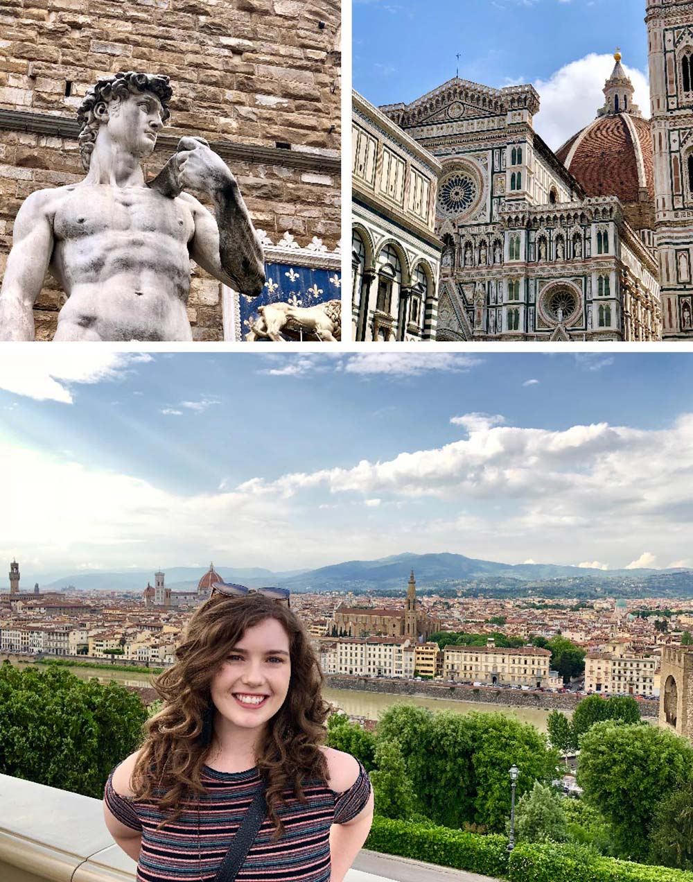 Statue of David in Loggia Dei Lanzi, Cathedral of Sante Maria sea Fiore, view of Florence from Pizzale Michelangelo, Florence, Italy