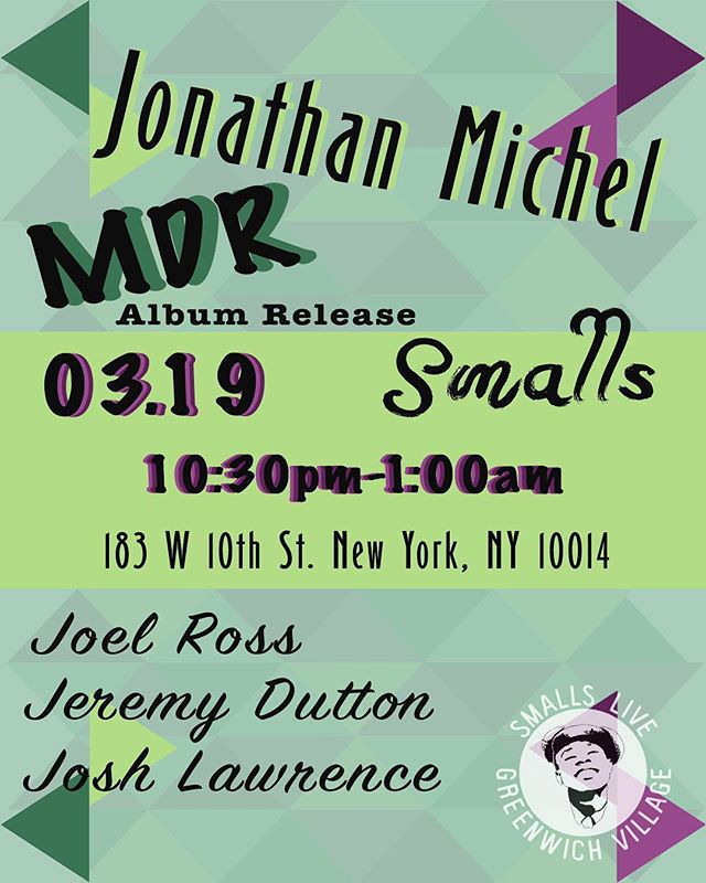So happy to announce the first Album Release show for #MDR and we're proud to have it back where it all started, @smallsjazzclub. Please join us in person or live-stream online, we'll be playing songs from the album an a few other goodies       #JonathanMichel #bassplayer #BAM #nycmusic #haitianamerican #YGNB #blackcreatives       🎨: @alexadumont