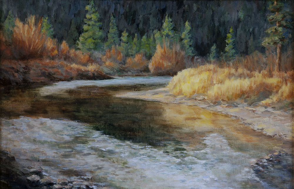 Paul Kirby's Big Thompson River oil painting in Rocky Mountain National Park.
