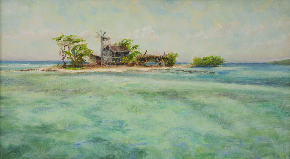 Belize cay oil painting by Paul Kirby