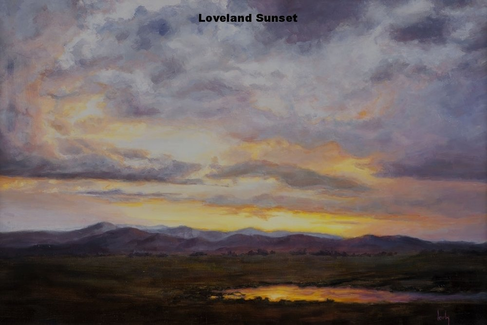 Sunset in Loveland oil painting by Paul Kirby