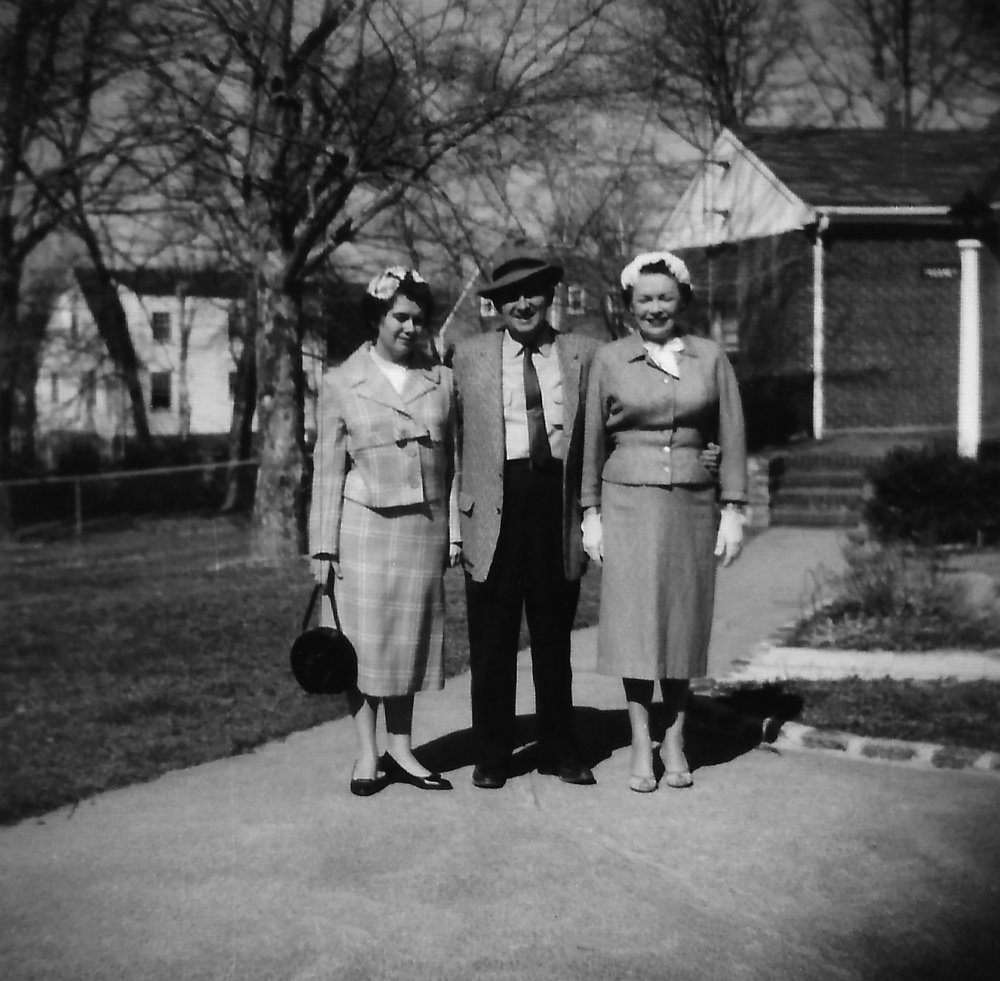 Diane, James and Dorothy in front of our home at 29 Sargent Road South Weymouth, Massachusetts