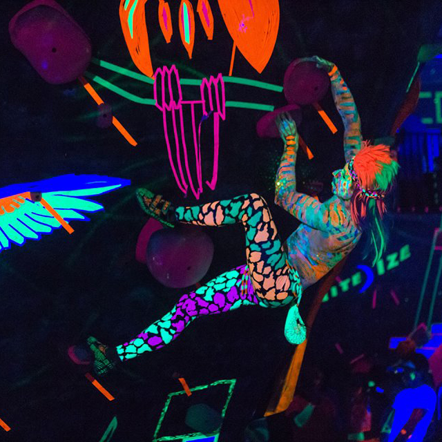 Psychedelia - 2019: October 26 in BoulderYou don't want to miss this epic out-of-this-world blacklight climbing event! Coordinate costumes with your friends and come enjoy the incredible themed art, all new unique climbing problems, and plenty more!