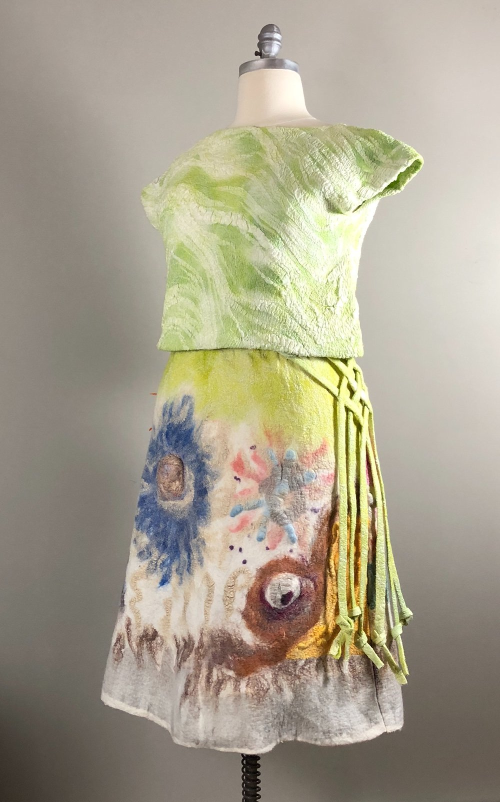 Stargaze: Hand dyed wool and silk top and skirt.