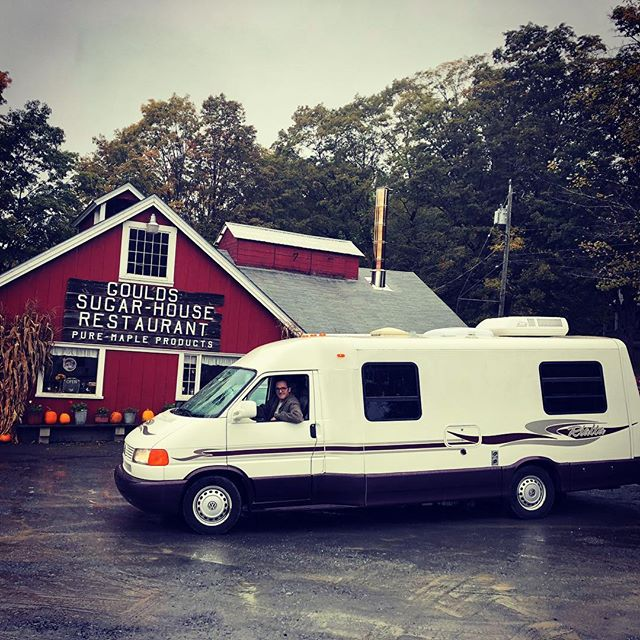 We went to this sugar shack all the time growing up.  Best #pancakes in the world.  Happy to fill our bellies on the way up to Maine!