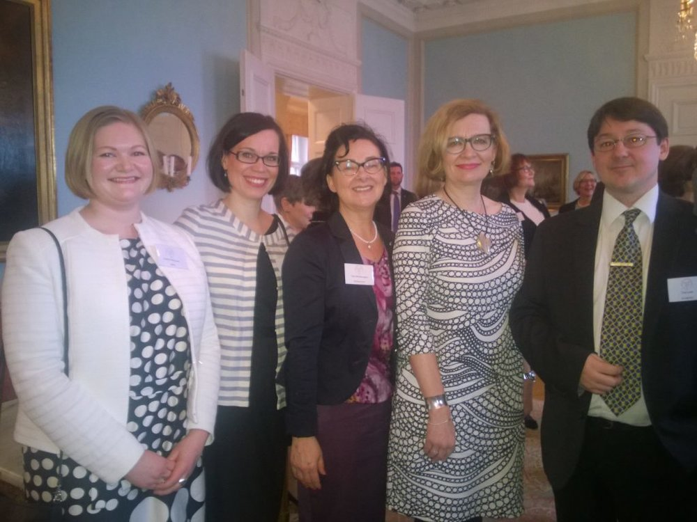 Tom with business partners from Sopimusvuori at the Swedish Embassy in Helsinki, together with the Finnish Minister of Social affairs Paula Risikko.
