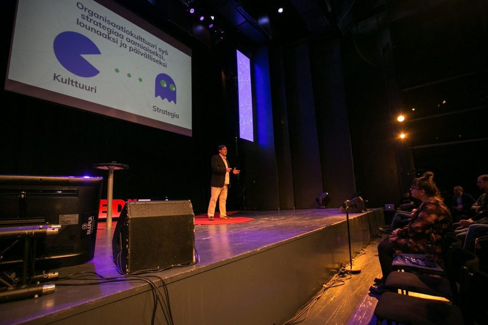 Tom speaking at TEDx Turku 2017