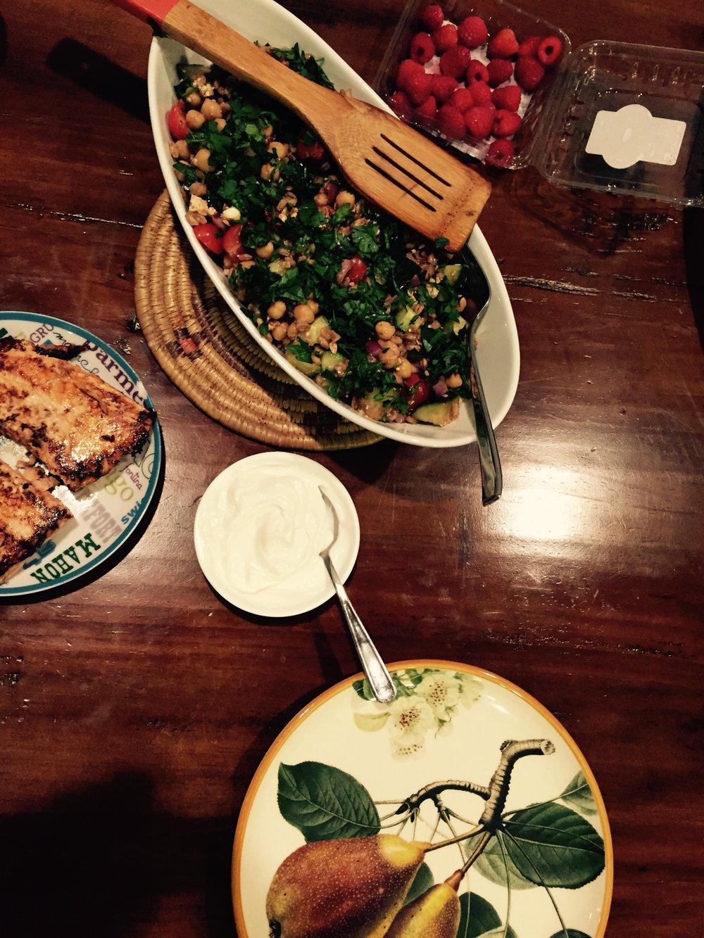 - We served it alongside some grilled salmon, raspberries & fresh yogurt