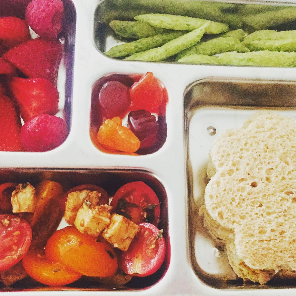 - sunflower butter + jelly sandwich, crispy snap-peas, rasberries, caprese salad + fruit snacks