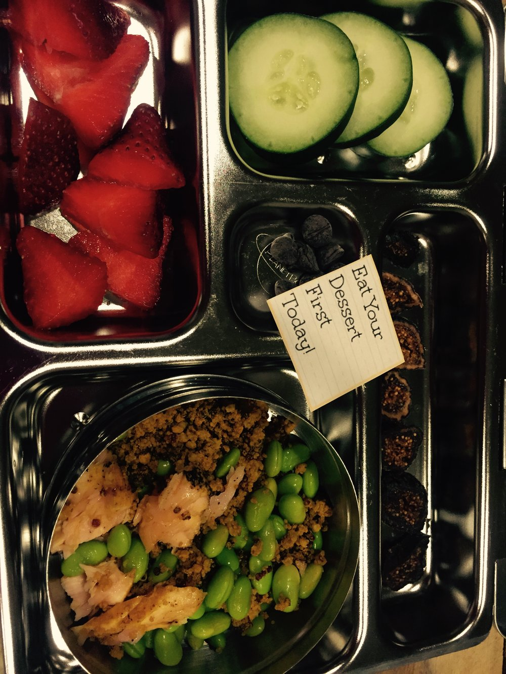 - leftover honey salmon + edamame + quinoa, dried figs (sliced), strawberries + sliced cucumbers