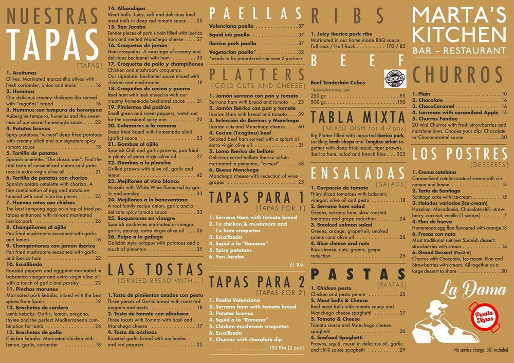 Marta's Kitchen Menu