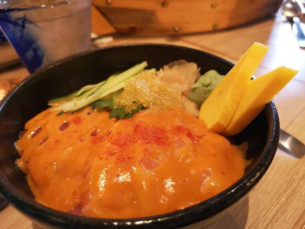 Tsukiji Fish Market Spicy Salmon and Tuna Rice Bowl