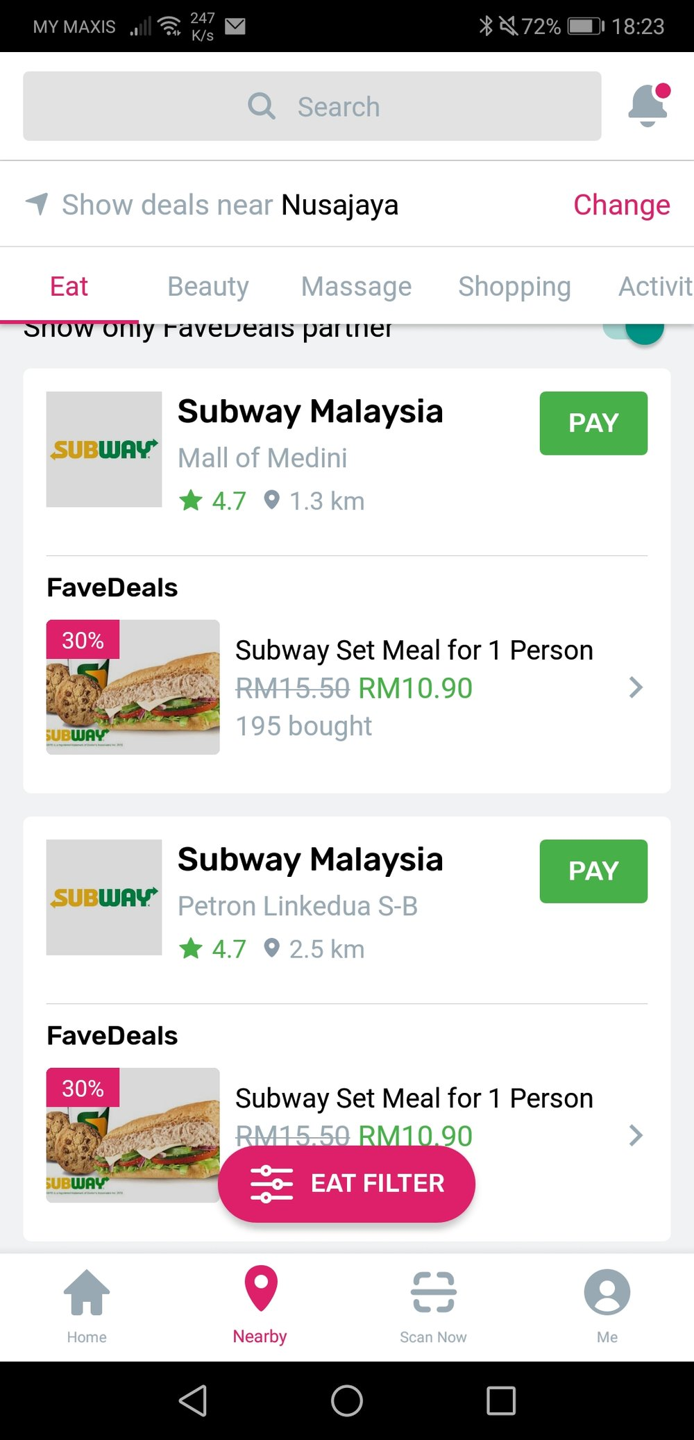 Fave Pay Deals Subway