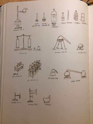 Prop list that needed to be built to fill the shelves.