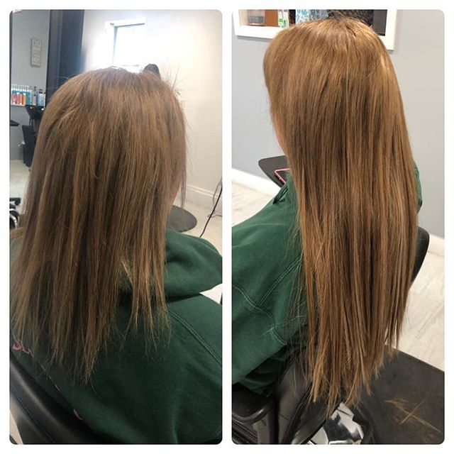 Before and After hair extensions! #halotapeins #halocouture #humanhair