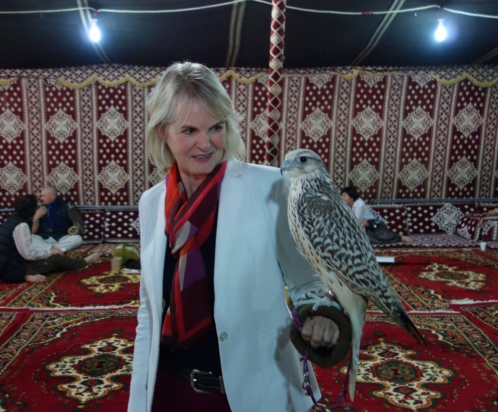 …and a real falcon in Abu Dhabi
