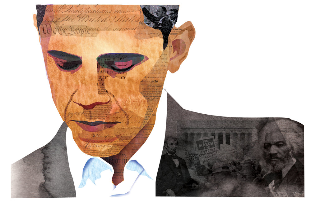 Collage Portrait of Barack Obama. Editorial illustration using historic photographs and documents to depict the history behind our first black president.